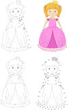 Cartoon princess. Coloring book and dot to dot game for kids Royalty Free Stock Photo
