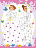 Cartoon princess - coloring page Royalty Free Stock Image