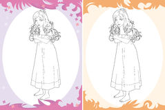 Cartoon princess - coloring page - two versions - image for different fairy tales Royalty Free Stock Images