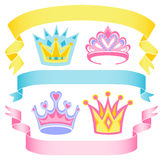 Cartoon Princess Crowns and Banners/eps Royalty Free Stock Photos