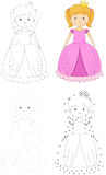 Cartoon princess. Dot to dot game for kids Royalty Free Stock Photography