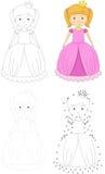 Cartoon princess. Dot to dot game for kids Royalty Free Stock Photography
