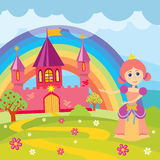 Cartoon princess and fairytale castle with landscape vector illustration Royalty Free Stock Photo