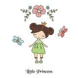 Cartoon princess girl. Cute princess girl. Greeting card with cartoon princess girl Royalty Free Stock Photography