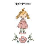 Cartoon princess girl. Cute princess girl. Greeting card with cartoon princess girl Stock Images