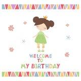 Cartoon princess girl. Cute princess girl. Greeting card with cartoon princess girl. Welcome to my Birthday Stock Photo