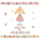 Cartoon princess girl. Cute princess girl. Greeting card with cartoon princess girl. Welcome to my Birthday Royalty Free Stock Image