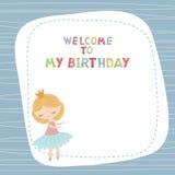 Cartoon princess girl. Cute princess girl. Greeting card with cartoon princess girl. Welcome to my Birthday Royalty Free Stock Images