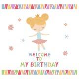Cartoon princess girl. Cute princess girl. Greeting card with cartoon princess girl. Welcome to my Birthday Stock Images