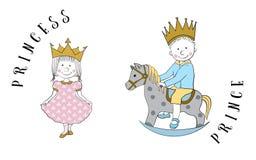 Cartoon princess and prince Royalty Free Stock Photo