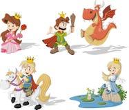 Cartoon princesses and princes Royalty Free Stock Photo