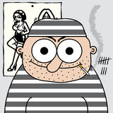 Cartoon prisoner. Illustrated funny prisoner in cell Stock Photo