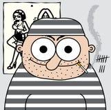 Cartoon prisoner. Illustrated funny prisoner in cell Stock Illustration
