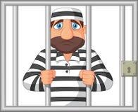 Cartoon Prisoner behind bar vector illustration