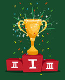 Cartoon prize golden cup. On sports championship podium vector illustration Royalty Free Stock Images