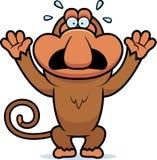 Cartoon Proboscis Panicking. A cartoon illustration of a proboscis monkey panicking Stock Image