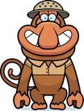 Cartoon Proboscis Safari. A cartoon illustration of a proboscis monkey in a safari outfit and pith Royalty Free Stock Image