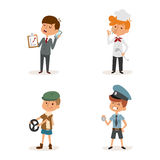 Cartoon profession kids children vector set illustration person childhood chef policeman doctor driver businessman Stock Photos