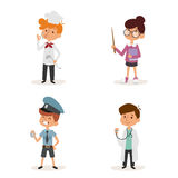 Cartoon profession kids children vector set illustration person childhood chef policeman doctor teacher uniform worker Stock Image