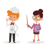 Cartoon profession kids children vector set illustration person childhood doctor teacher uniform worker character Royalty Free Stock Photo