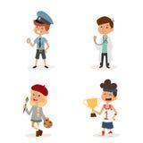 Cartoon profession kids children vector set illustration person childhood painter sportsman builder policeman doctor Royalty Free Stock Photography