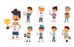 Cartoon profession kids children vector set illustration person childhood painter sportsman chef builder policeman Stock Photo