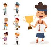 Cartoon profession kids children vector set illustration person childhood painter sportsman chef builder policeman Royalty Free Stock Photo