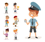 Cartoon profession kids children vector set illustration person childhood painter sportsman chef builder policeman Royalty Free Stock Photography
