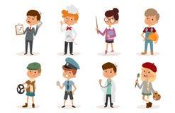 Cartoon profession kids children vector set illustration person childhood painter sportsman chef builder policeman Royalty Free Stock Images