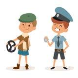Cartoon profession kids children vector set illustration person childhood policeman driver uniform worker character Stock Photography