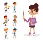 Cartoon profession kids children vector set illustration person teacher painter sportsman chef builder policeman doctor Stock Images