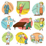 Cartoon Profession Set. Including teacher, doctor, photographer Royalty Free Stock Images