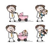 Cartoon Professional Businessman babysitting. Vector design royalty free illustration