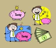 Cartoon Professional Businessman Money and saving concepts. Vector design stock illustration
