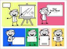 Cartoon Professional Businessman Presenting blank banners. Vector design royalty free illustration