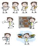 Cartoon Professional Businessman reading in many ways. Vector design stock illustration