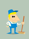 Cartoon professional cleaner Royalty Free Stock Image