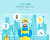 Cartoon Professional Electrician Worker Man and Electric Service Card Poster. Vector Stock Photos