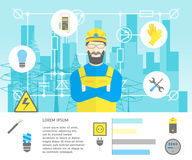 Cartoon Professional Electrician Worker Man and Electric Service Card . Vector Stock Photography
