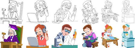 Cartoon professions set. Cartoon working people set. Collection of professions. Judge, operator of call center, chemical scientist, shoemaker cobbler, seamstress Royalty Free Stock Image
