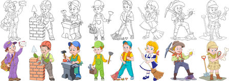 Cartoon professions set. Cartoon working people set. Collection of professions. Mail man postman, builder, blacksmith, plumber, cleaner, sweeper, gold miner Royalty Free Stock Photo