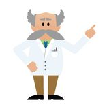 Cartoon professor with moustache Stock Images
