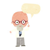 Cartoon professor with speech bubble Royalty Free Stock Photography