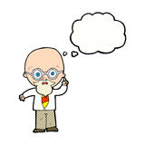 cartoon professor with thought bubble vector illustration