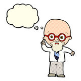 cartoon professor with thought bubble stock illustration