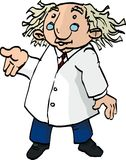 Cartoon professor with wild hair. Isolated on white Stock Images