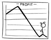 Cartoon of Profit Graph with Small Man Looking up to Better Time. Cartoon vector doodle little stickman man standing inside theprofit graph and looking from low Stock Photo