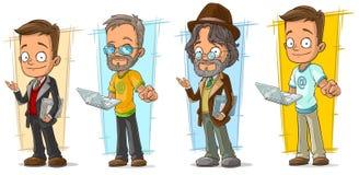 Cartoon programmer with laptop character set. Cartoon smart programmer with laptop and documents character vector set Royalty Free Stock Photos