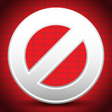 Cartoon Prohibition, Restriction Sign Over Abstract Brick-Wall B Royalty Free Stock Image