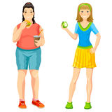 Cartoon Proper Nutrition Concept. With fat woman eating burger drinking soda and slim girl holding apple isolated vector illustration royalty free illustration